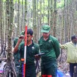 Bearing measurement with clinometer and recording in tablet in the Sundarbans